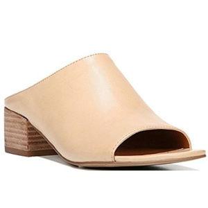 Franco Sarto Leather Peep Toe Beige Slide Mule